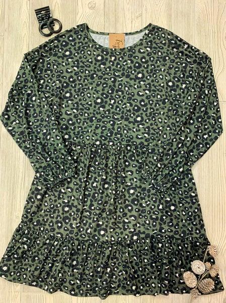 Leopard Print Long Sleeve Dress