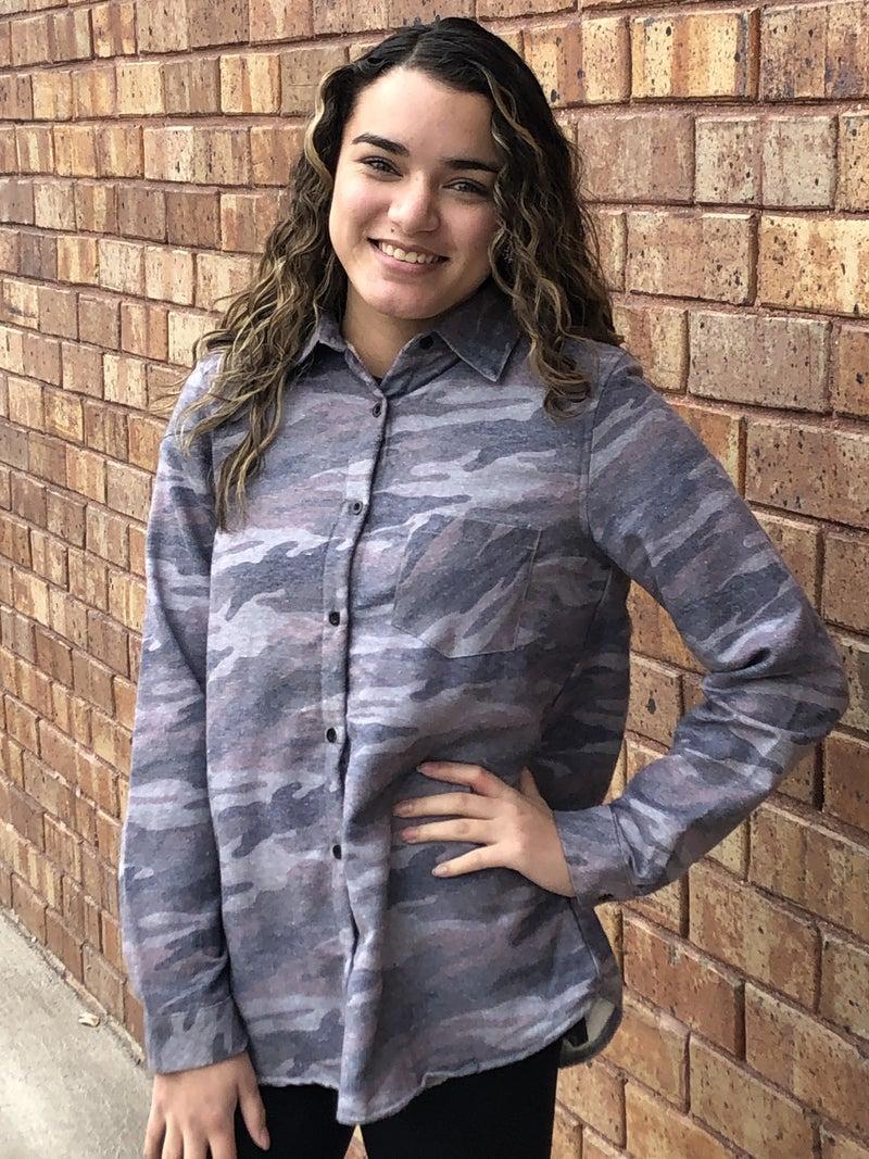 Camo fleece lined long sleeve shirt