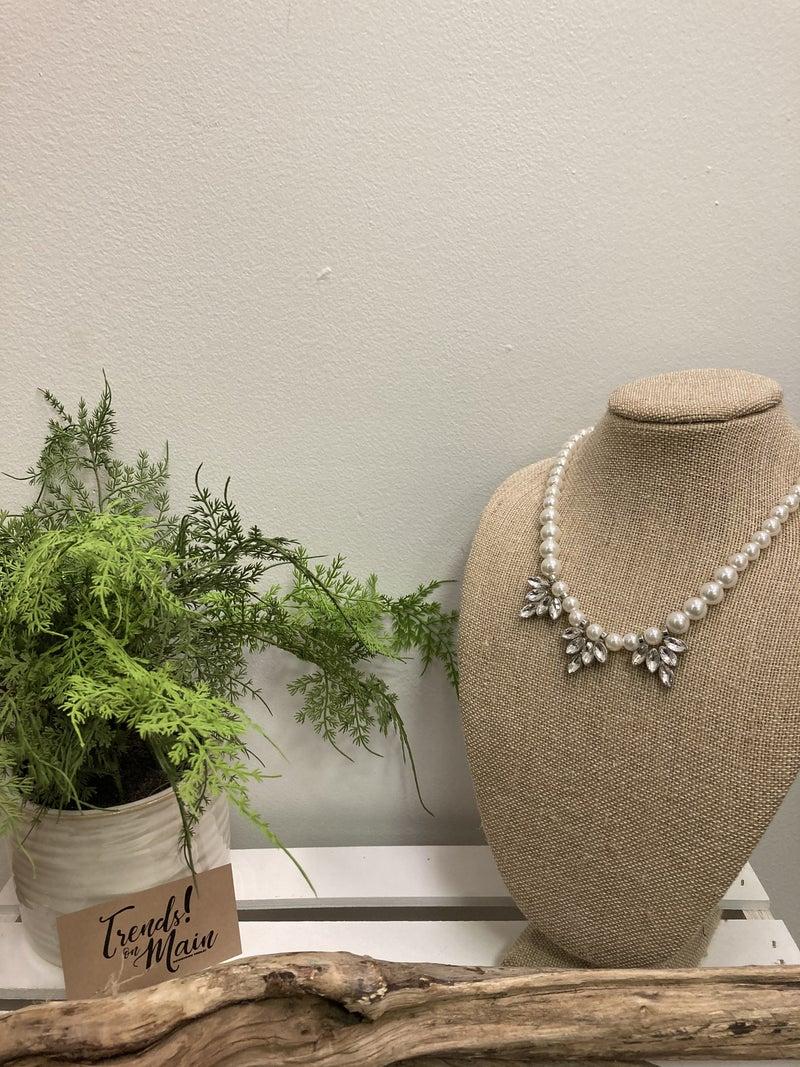 Pearl 3-crystal drop necklace