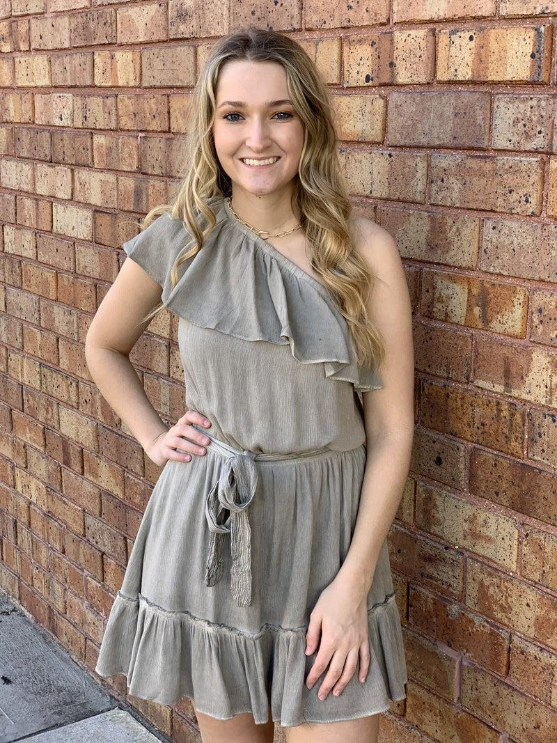 Sage One Shoulder Ruffle Mini Dress
