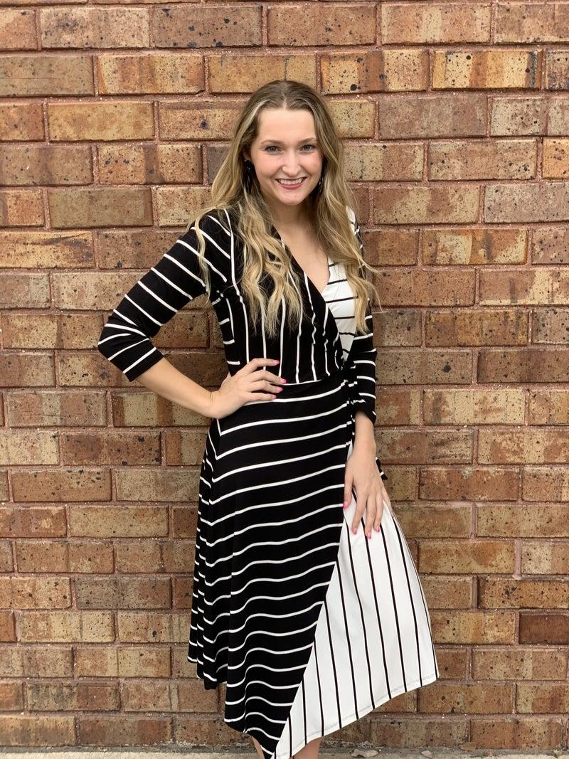 Striped Wrapped Dress