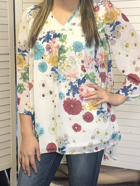 Floral printed chiffon top