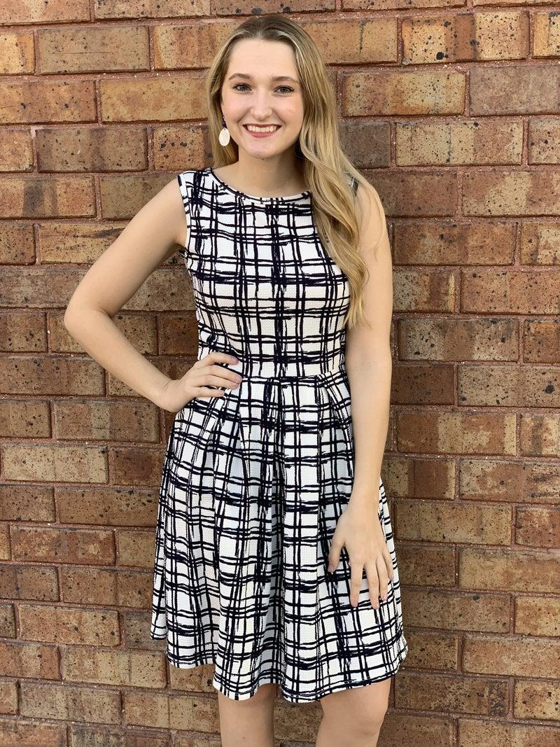 Navy Patterned Sleeveless Swing Dress