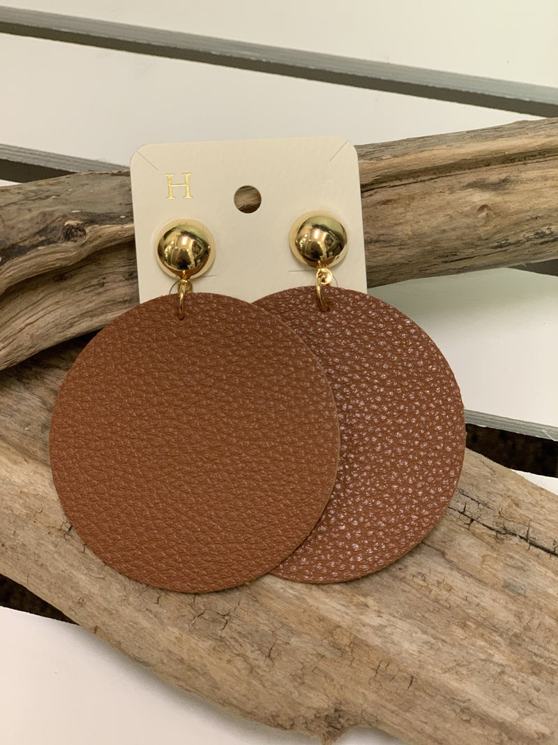 Cognac large disc earrings
