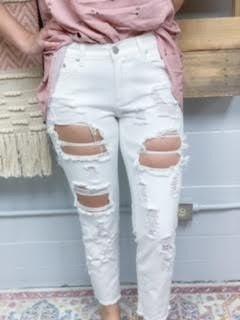 White Distressed Jean w/ Frayed Hem