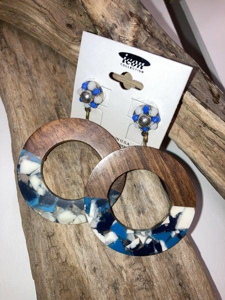 Blue marble wood earrings