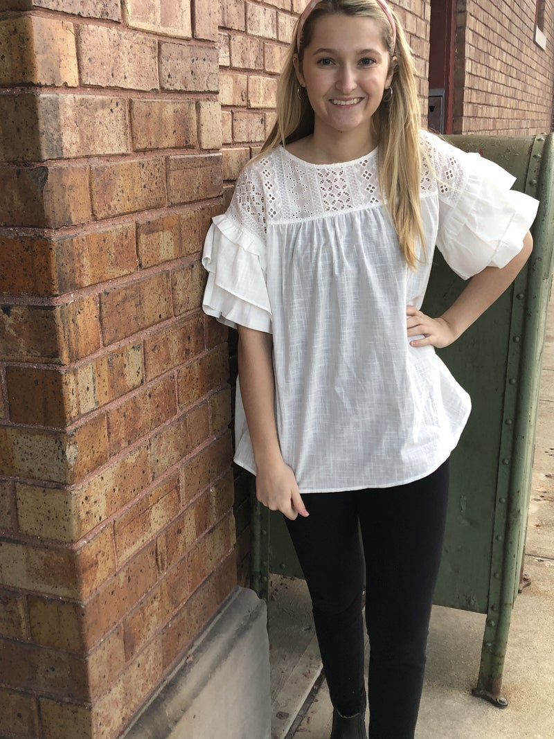 Eyelet Contrast Ruffled Sleeves Tunic Top