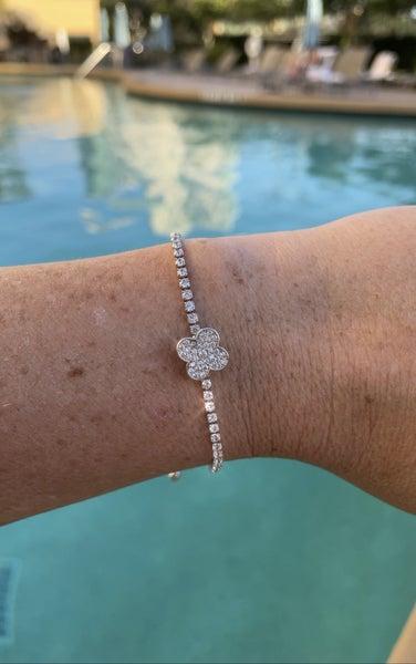 CZ Free-spinning Flower Bracelet