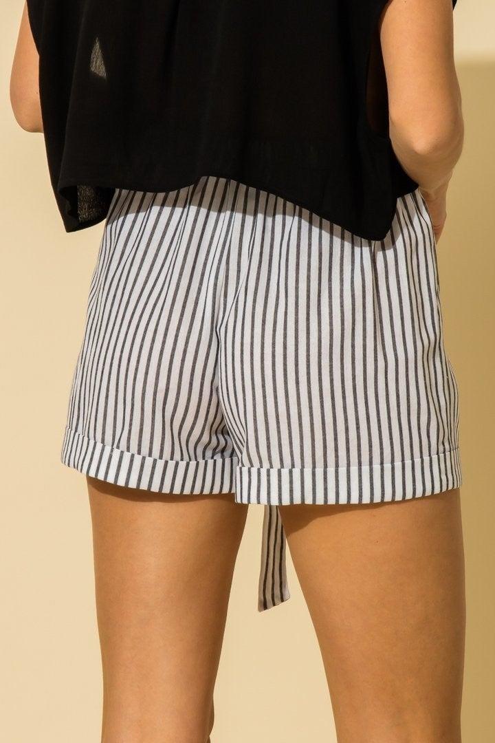 Striped Folded Hem Shorts