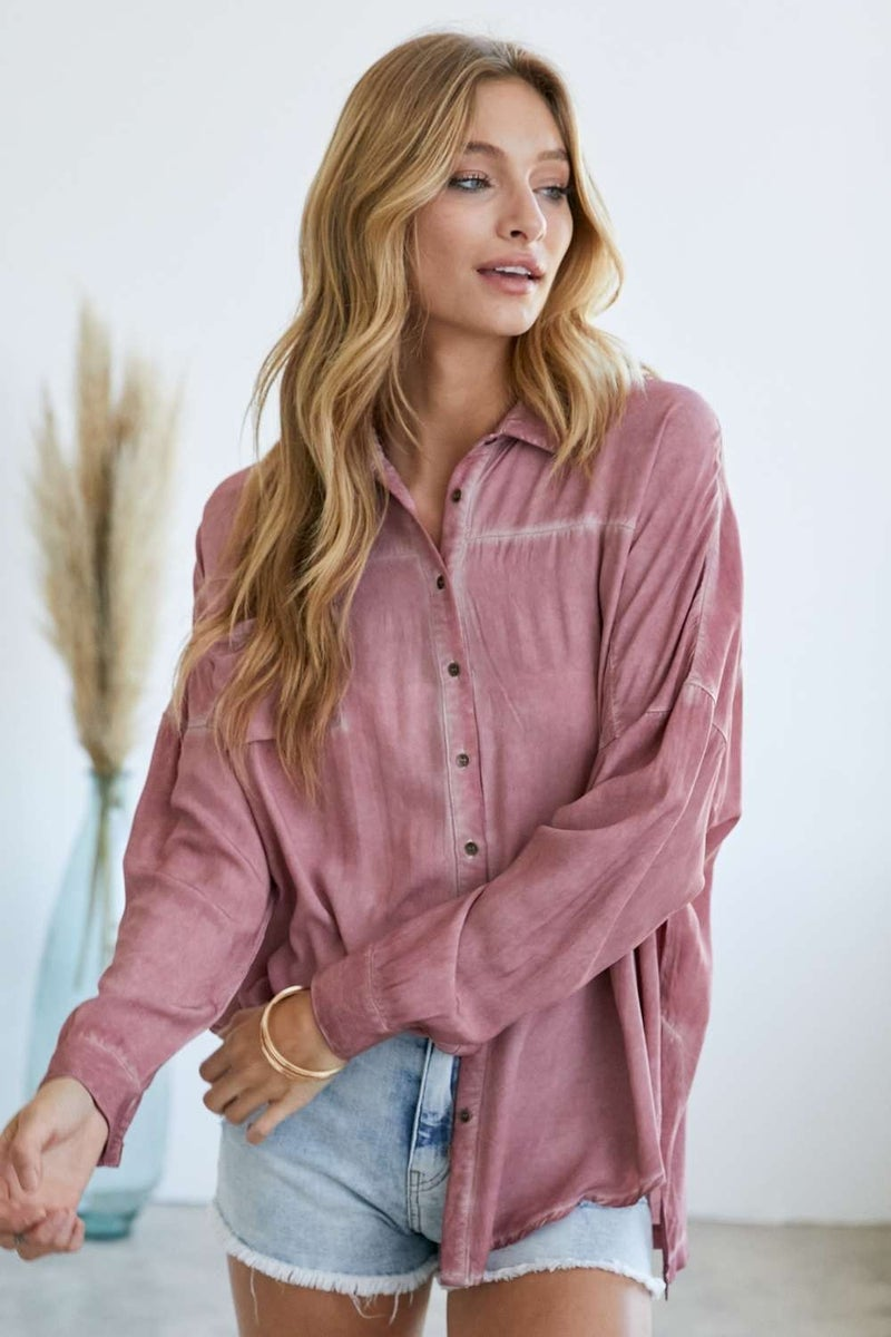 Solid Color Button Down