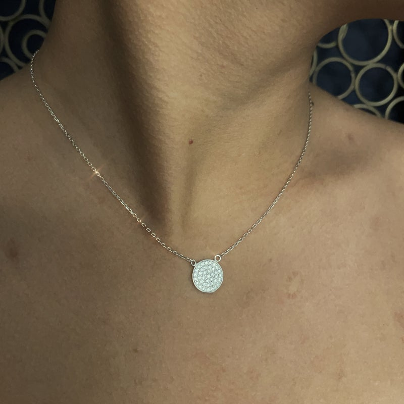 .925 Large Pave Circle Necklace