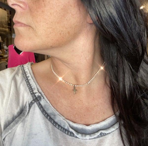 Beaded Cross Choker/Necklace