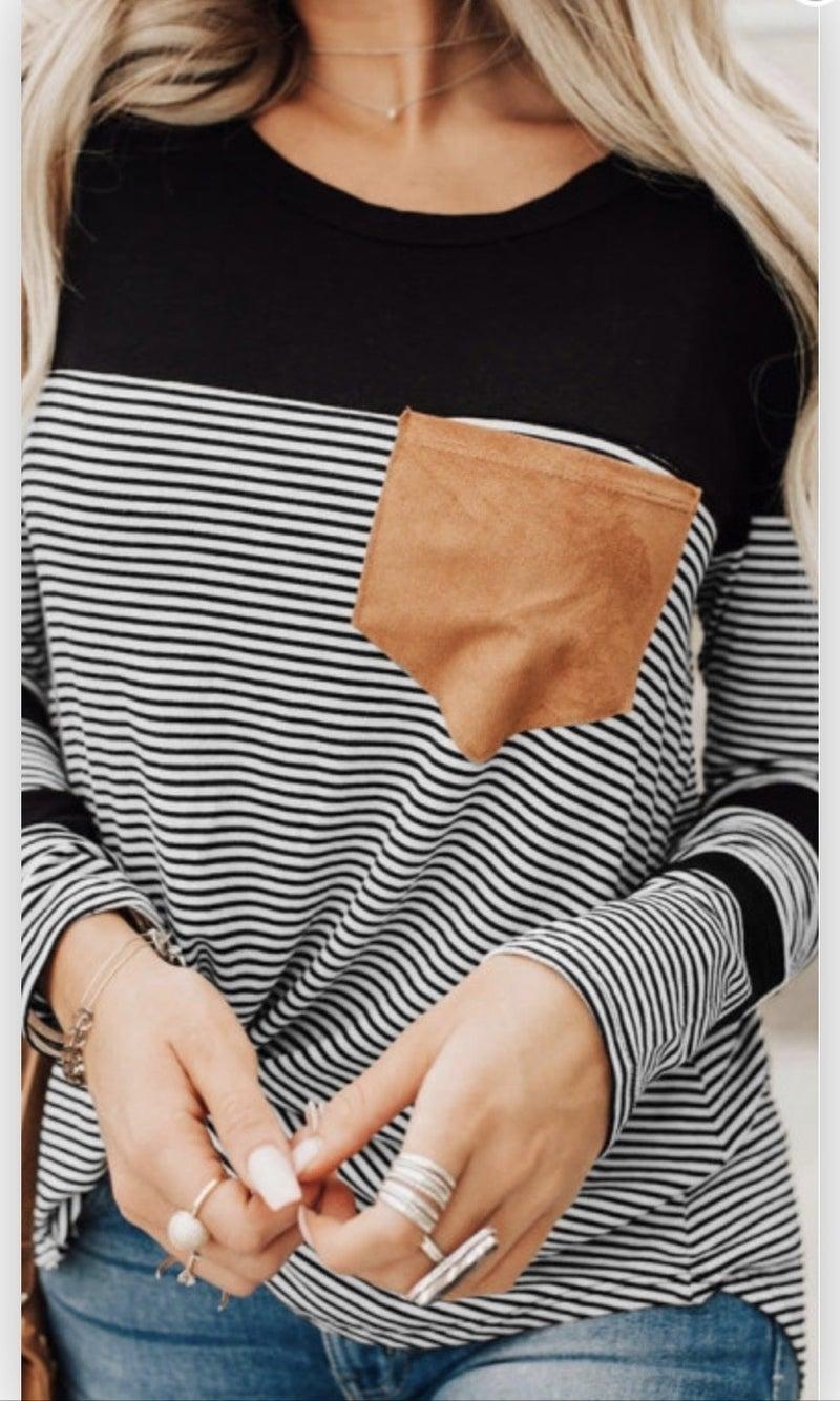 Striped Suede Pocket Top