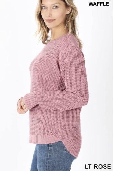 Waffle Knit Rose Sweater