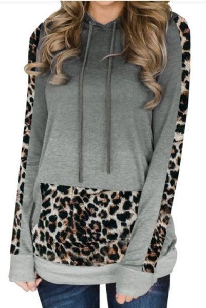 Grey Ombre Leopard Hoodie