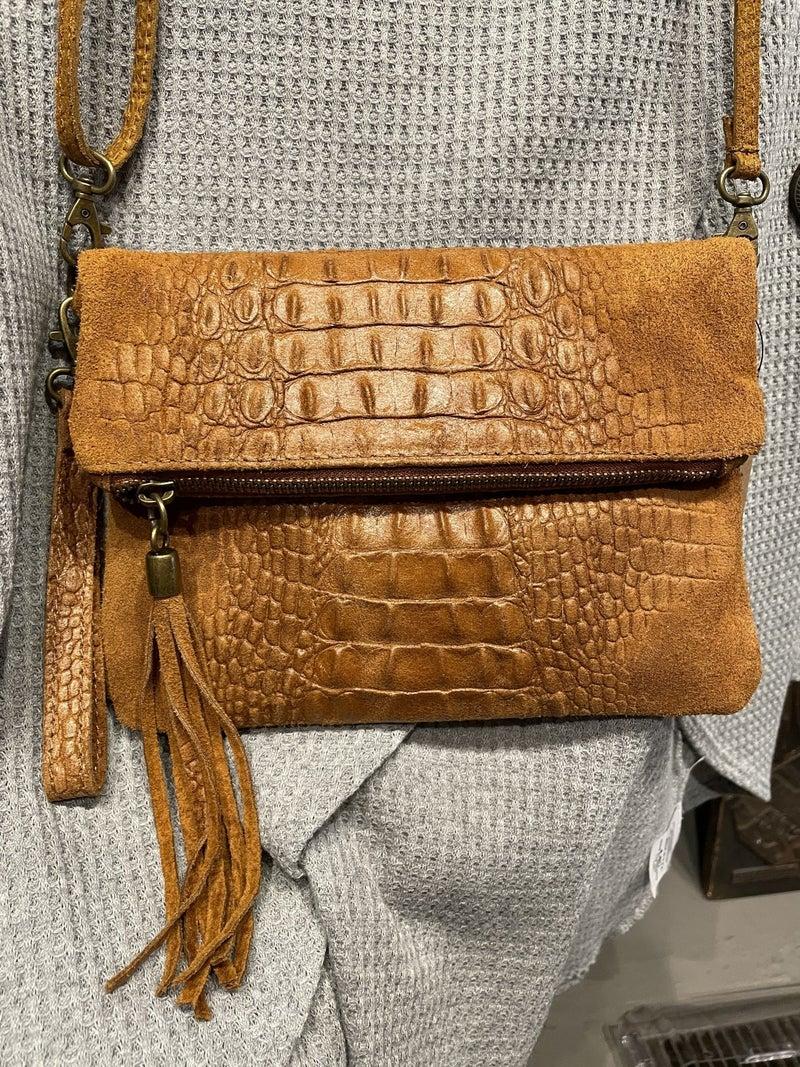 Genuine Italian Leather Clutch w/ Strap