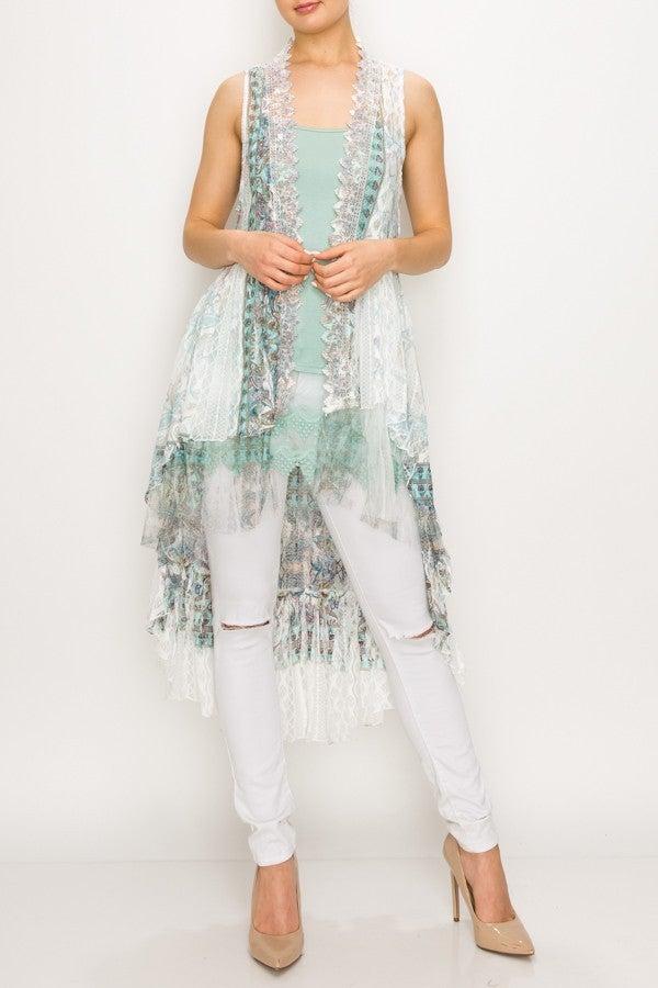 Turquoise/Ivory Lace Kimono