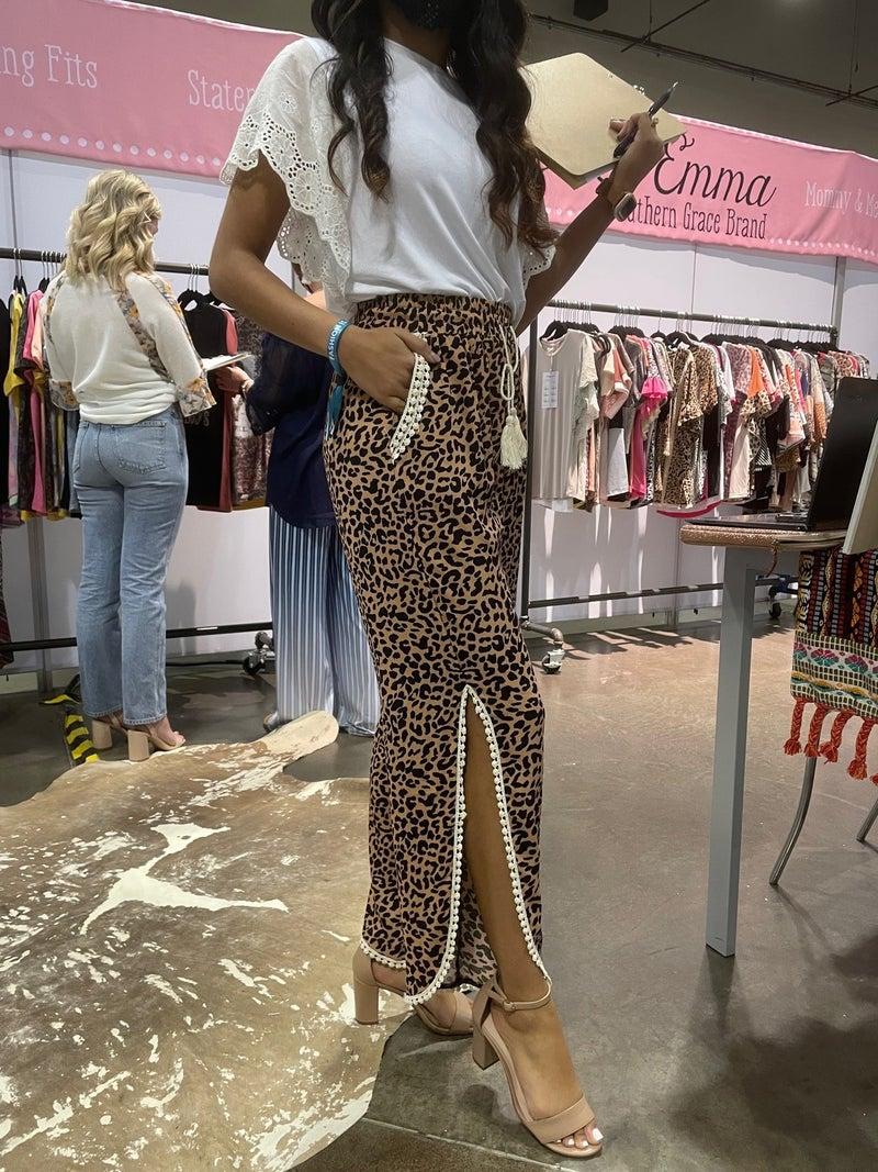 Leopard Split Hem Pants