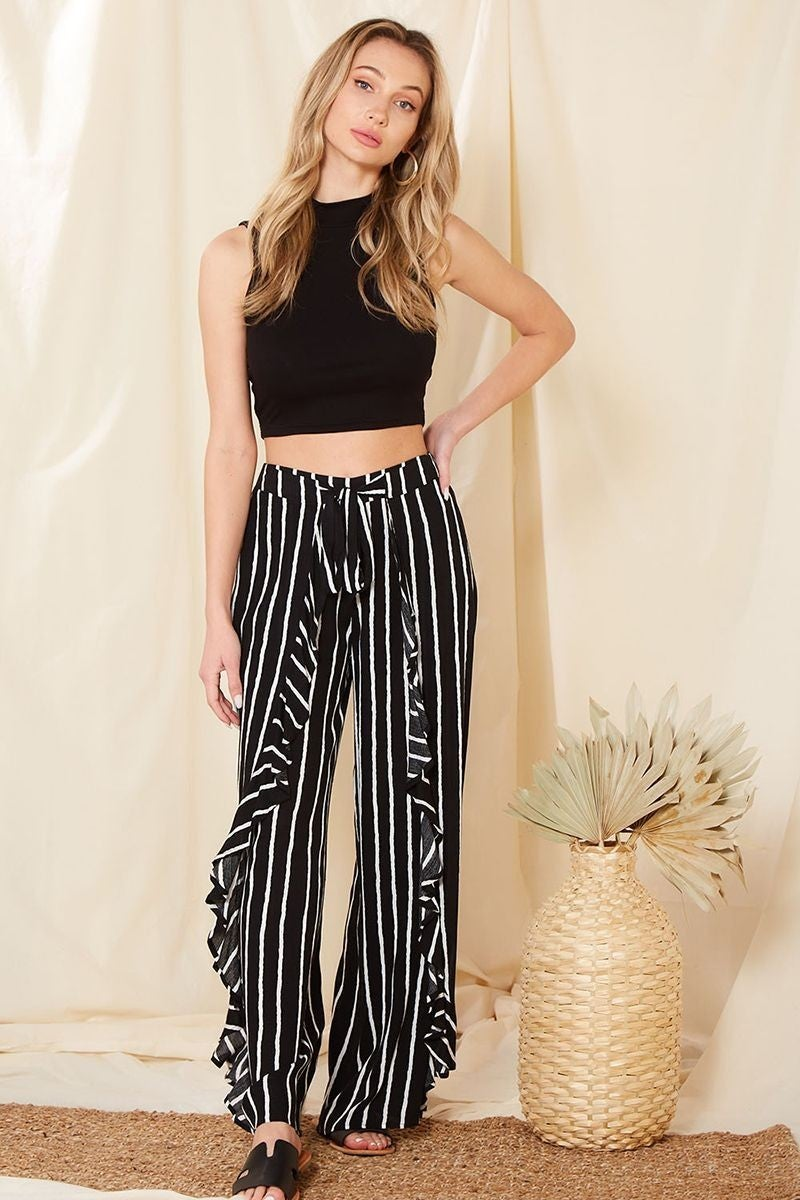 Striped Ruffle Front Pants