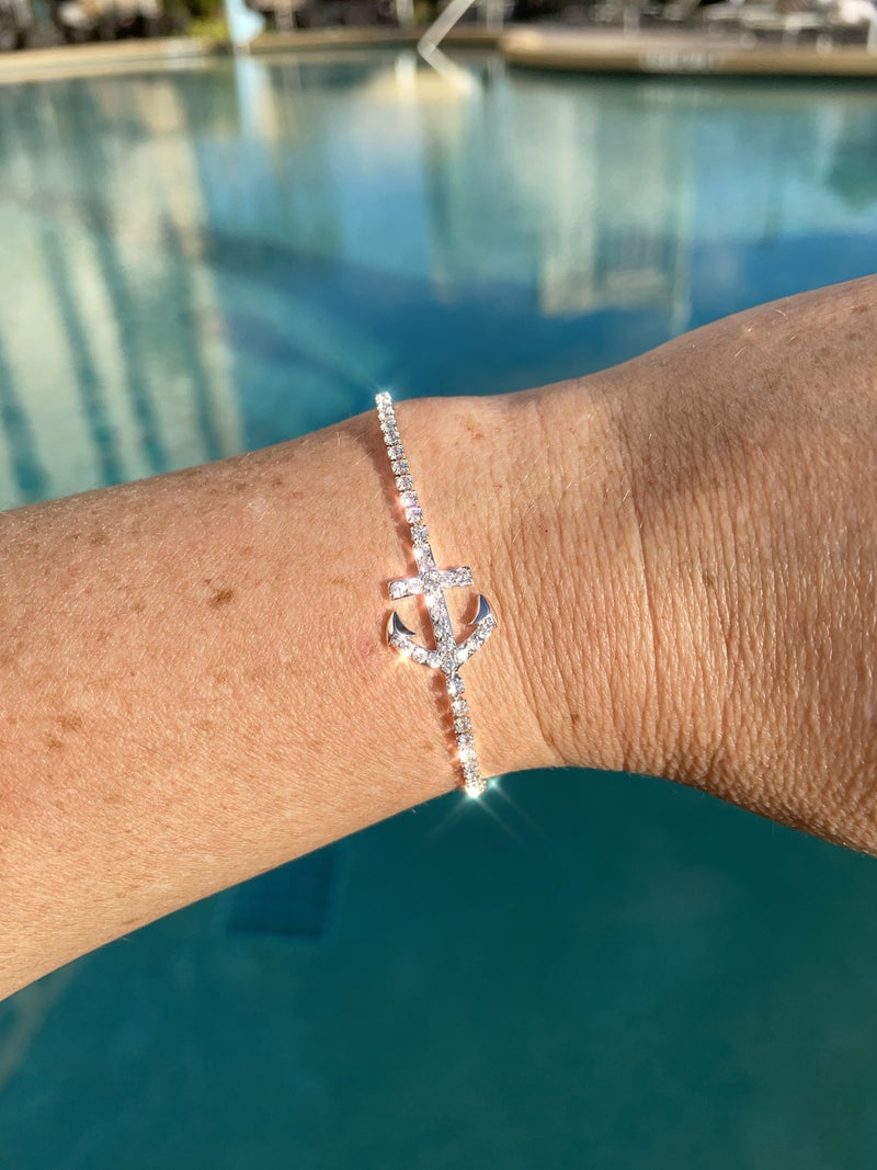 CZ Anchor Bracelet
