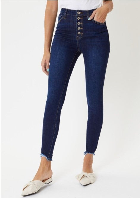 KanCan High Rise Button Fly Skinnies