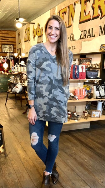Long Sleeve Gray Camo V-Neck Tunic