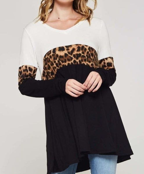 Leopard Print Color Block V-Neck