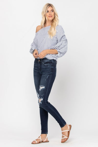 Judy Blue Mid-Rise Destroyed Skinny Jean