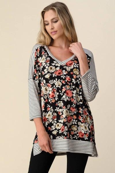 Floral Pinstripe Tunic- 1X