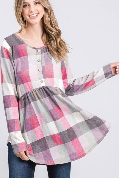 Long Sleeve Round Neck Plaid Print Babydoll Top with Button Detail