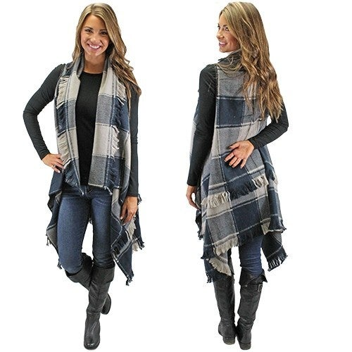 Long Plaid Vest with Fringe