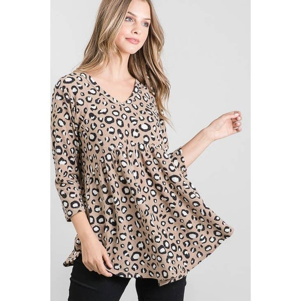 THREE QUARTER SLEEVE V NECK LEOPARD PRINT BABY DOLL TOP