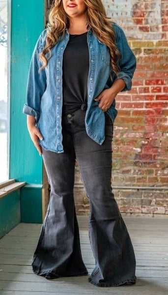 High Rise Button Fly Black Wash Flare Jeans