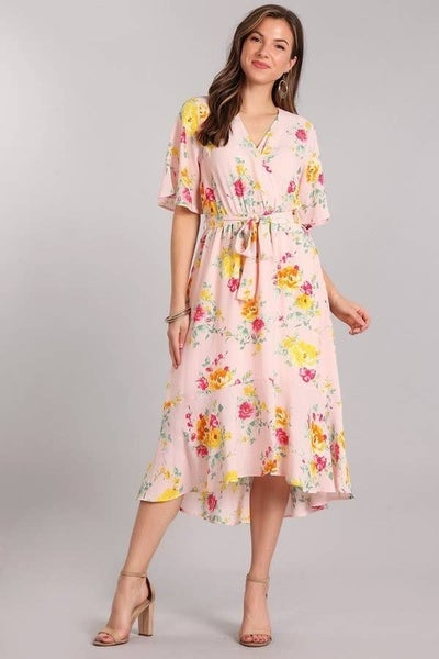 Pink Floral Hi Lo Dress