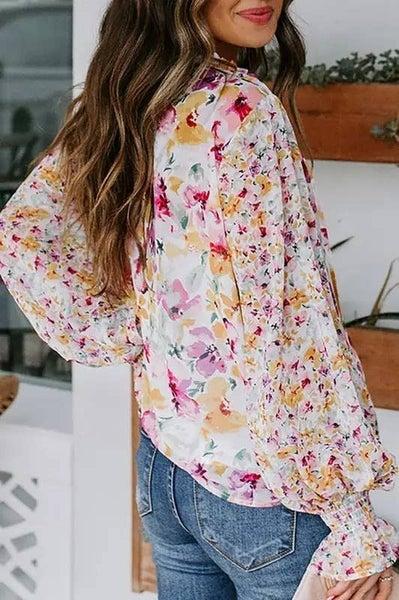 Gorgeous Floral Print Drawstring Blouse- Multi Floral