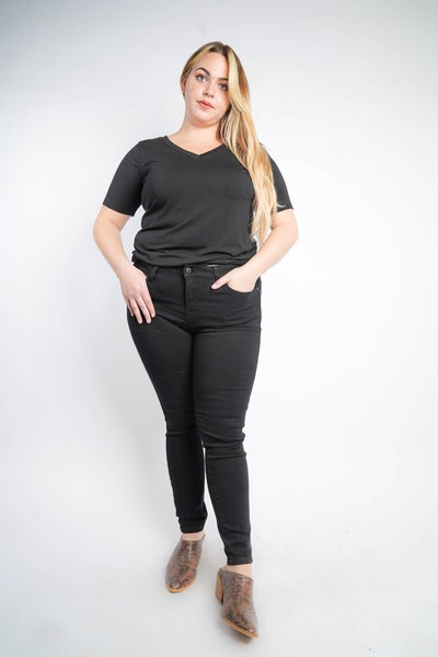 The HEATHER Mid Rise Skinny Black Jeans By Judy Blue