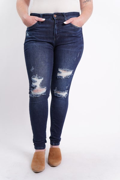 The JULIA Mid-Rise Distressed Skinny By Judy Blue