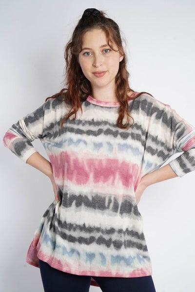 Free Spirit Striped Tie Dye Long Sleeve, Multicolor