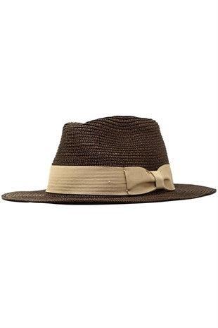 Brown Heathered Paper Braid Panama Hat