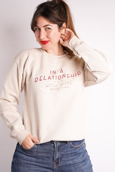 In A Relationship With Wine Graphic Sweatshirt
