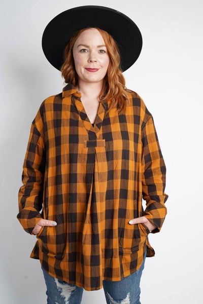 Picking Apples Flannel Tunic By Easel