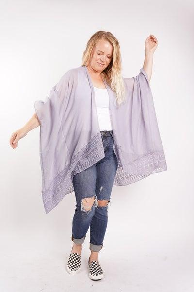 Carla Lace Border Kimono, 2 Colors!