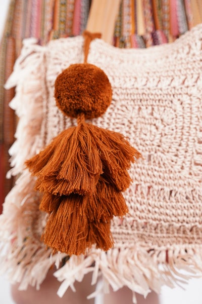 Rust Pom Pom Bag Accessory