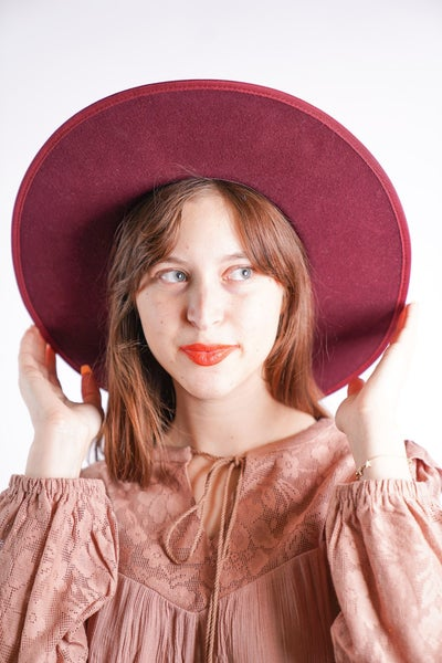 Billie-Wool Felt Rancher Hat in Burgandy