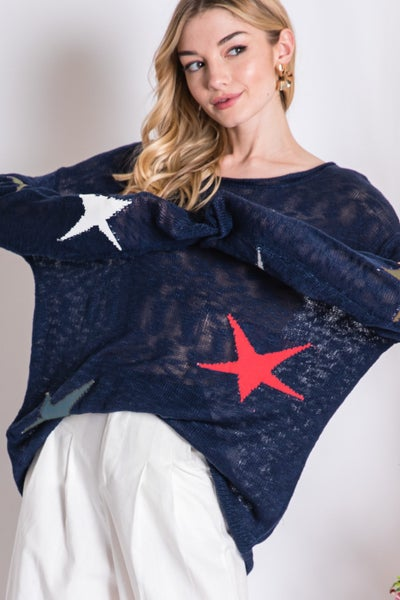 Navy Multi Color Star Boyfriend Sweater