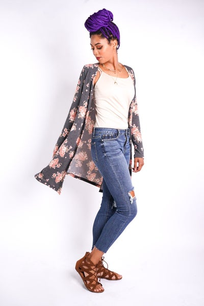 Cozy N Rosy Mid Length Cardi, Charcoal