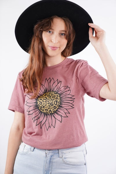 Leopard and Gold Sunflower Graphic Tee