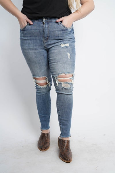 The SUMMER Knee Destroy Skinny Jeans by Judy Blue