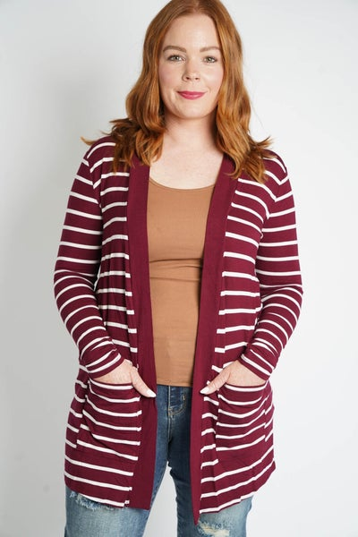 Lovely In Lines Open Front Cardi