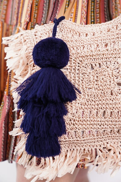 Navy Pom Pom Bag Accessory